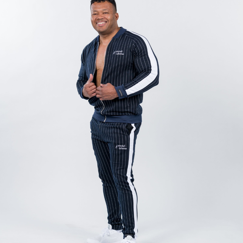 Men's Blue Pinstripe Jogger Set
