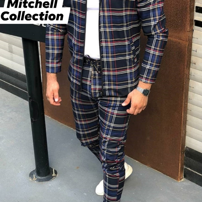 Men's Blue And Red Plaid Set