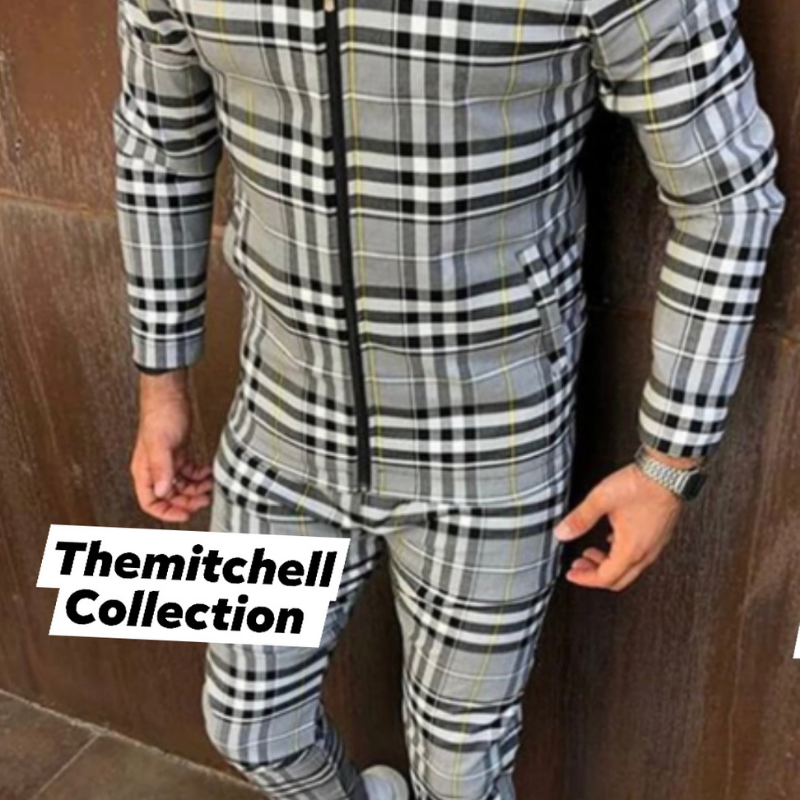 Men's Gray And Yellow Plaid Set